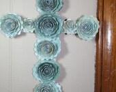 Valentine Cottage Look  Flowers Sparkling  Fairy Paper Blue Cross *Custom Order*