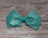Tricia . Hair Bow . Teal Satin