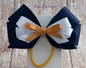 Alexis . Hair Bow . Navy, White, and Gold Satin