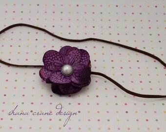 Lily . Headband . Silk Flower . Purple Hydrangea