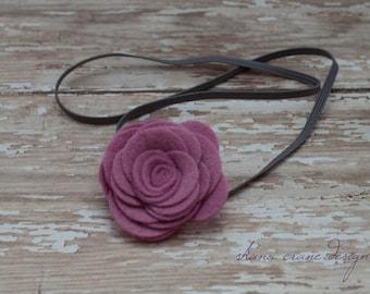 Allie . Headband . Pink Violet Felt Rose