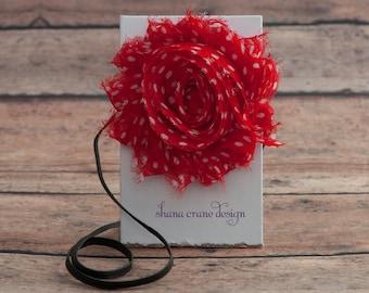 Mia . Headband . Shabby Chiffon Flower . Red with White Dots