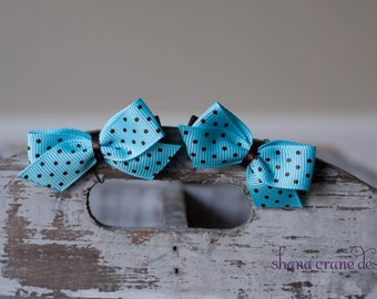 Cameron . Bitty Bows . Blue with Chocolate Dots