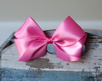 Rosalind . Hair Bow. Pink Satin