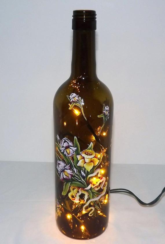IRIS Bouquet Glass Bottle Accent Light/Lamp-Beautiful-Great Gift Idea