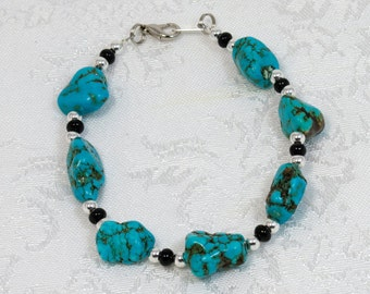 Turquoise Nugget Bracelet Free Earrings With Purchase