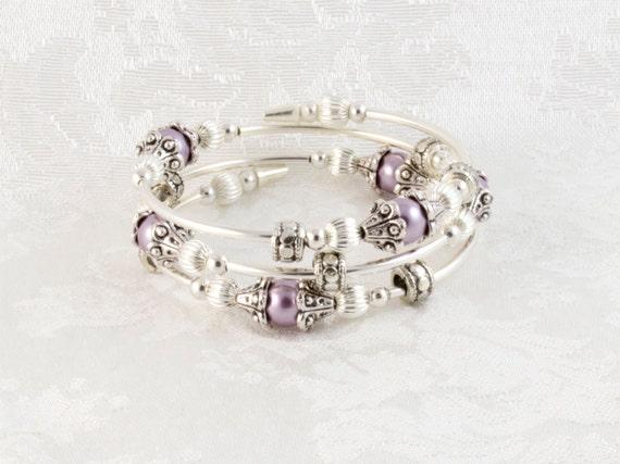 Swarovski Purple Pearl Wrap Around Bracelet Memory Wire
