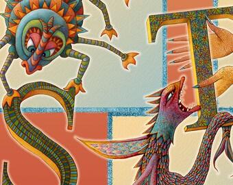 Monster - Alphabet Poster - Monster Art - Kids Wall Art - Nursery Art Poster - Monster Poster - Playroom Poster - Letter Poster