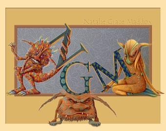 Monster - Personalized Monster Art - Monogram Print - Personalized Children - Childrens Art - Alphabet Print - Letter Print
