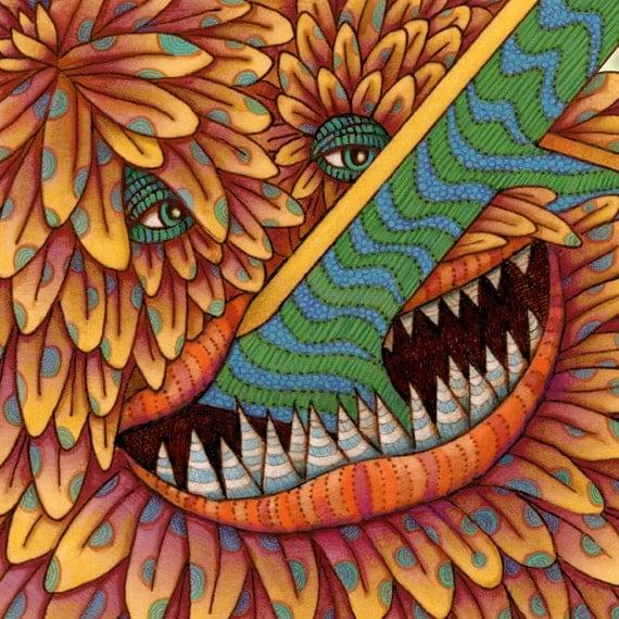 Monster - Custom Letter Name Sign - Personalized Children Print - Kids Art - Letter A Print - Monster Art - Childrens Art - Little Monster