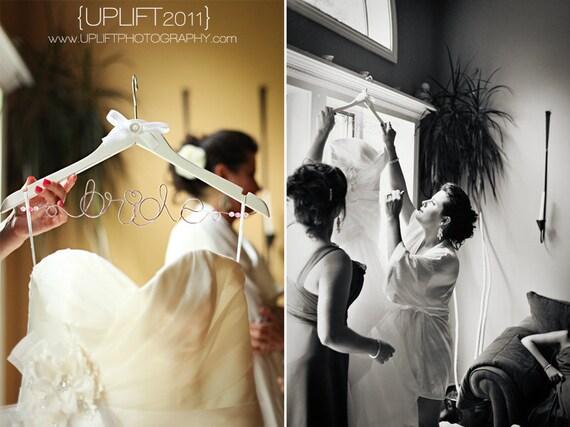 Custom Wedding Dress Wood Hanger - Bride with Bow