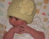Yellow Rose Baby Crochet Hat