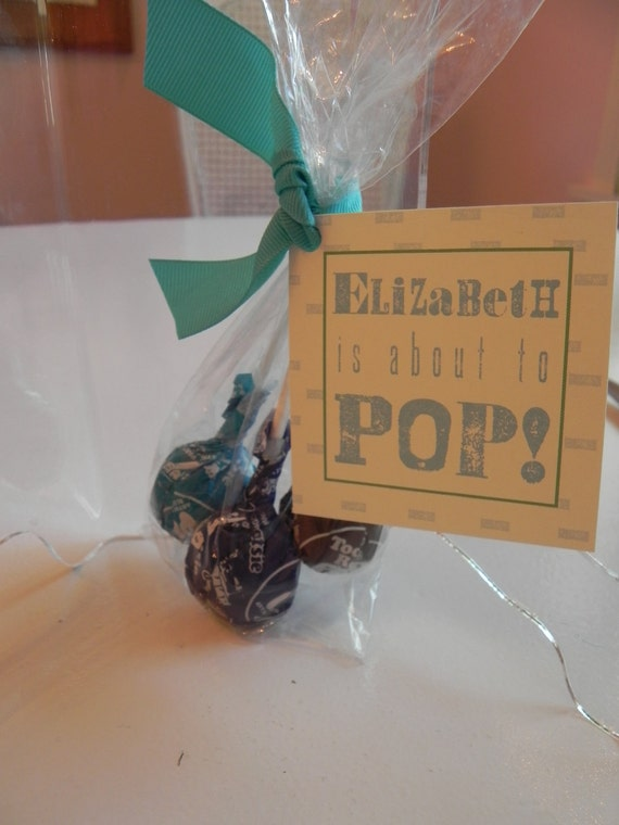 Southern Hatch Style 'She's About to POP' Custom Printed Favor Gift Tag