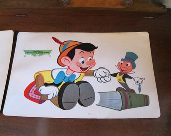Vintage ~ Always Let Your Conscious Be Your Guide.  -  Jiminy Cricket  -  Snow White ~  Disney  1960's Vintage Placemats  - 3  vinyl covered