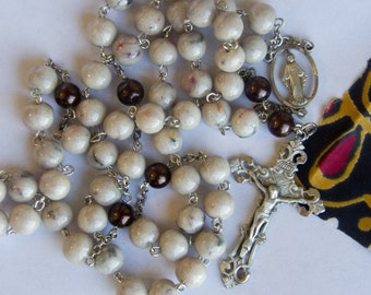 memorial rosary prayer beads from your fabric or dried flowers from a wedding, anniversary, first communion, funeral, with pewter crucifix