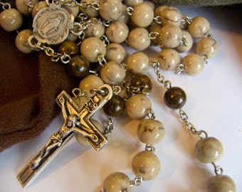 Keepsake Rosary  saved with YOUR fabrics or  dried flowers from for a baby's baptism, a first communion, funeral, wedding, anniversary