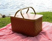vintage large Picnic Basket - diamond weave and metal