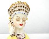 Irving Rice vintage Head Vase - Unusual India Motiff
