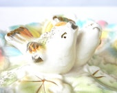 Two little Birds - vintage Sectional dish in creamy pastels . made in japan