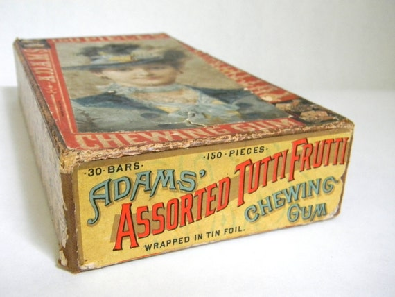 "antique Adams ""Tutti-Frutti"" Gum Display Box early cardboard"