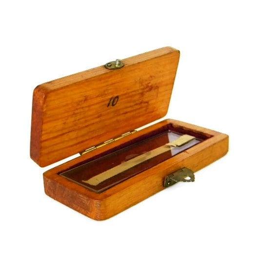 Presentation Microscope Slide in Wooden Box - Gaertner Scientific Corporation