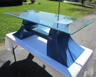 Metal Sculpture /  Jazz Series / Coffee Table / Steel Media Stand with Embedded Glass