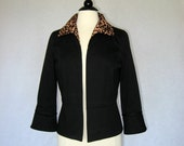 Black Jacket with Animal Print Collar