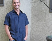 Mens Tall Navy Linen Short Sleeved Shirt Custom Made for You