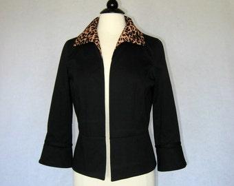 Black Jacket with Animal Print Collar