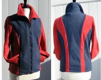 Sample Sale School Colors Slimming Stripes Fleece Sweater Jacket