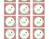 Circus carnival cupcake toppers or tags