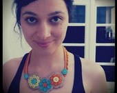 "Orange Buttons Necklace -  ""In circles"""