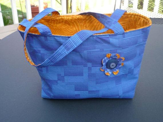 SALE Blue Tote Bag / Storage Catch All