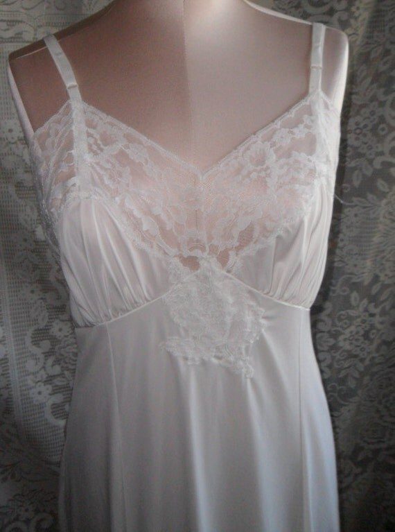 Vintage Full Slip White Lace Size 36 by Gaymode