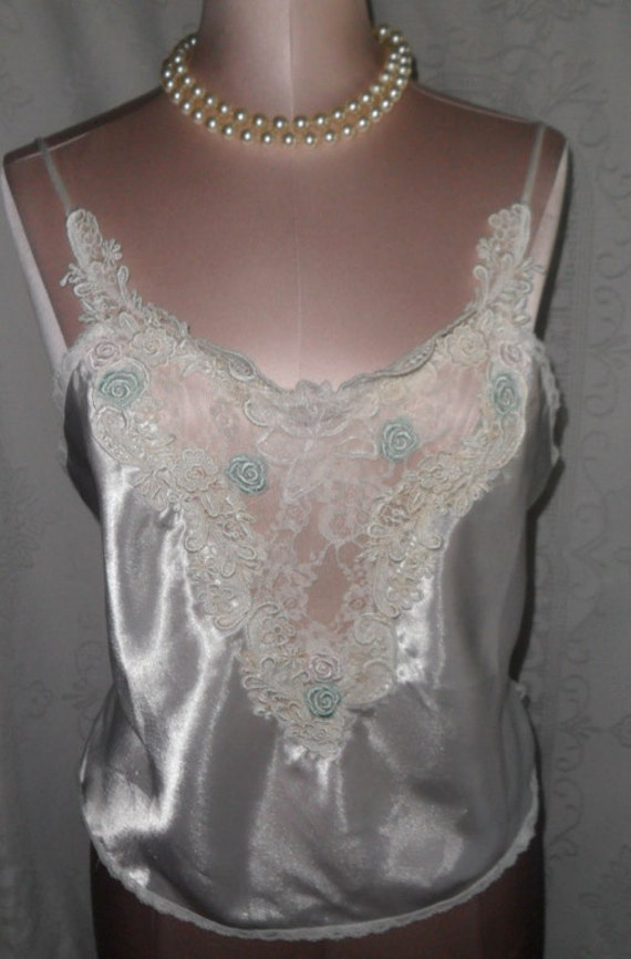Vintage Camisole Victoria's Secret Size Medium Cami Wedding White Lace Bridal