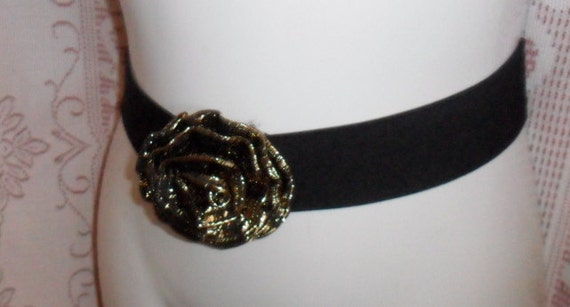 Vintage Belt Cinch Elastic Black and Gold Flower Buckle