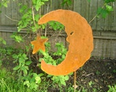 Metal Garden Art, Moon with Star Yard and Garden Stake