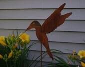 Metal Garden Art, Hummingbird, Sculptured Metal Hummingbird, Humming Bird Stake, Garden Bird