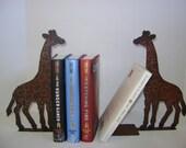 Pair of Giraffe Bookends, Metal Giraffes, Pair of Metal Art Giraffe Bookends