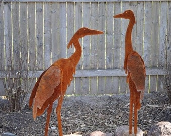 Metal Garden Art, Sculptured Heron Set of 2, unique gifts for women, unique gifts for men, yard art, garden art