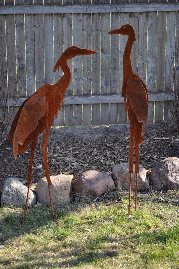 Metal Garden Art Sculptured Heron Set of 2 by