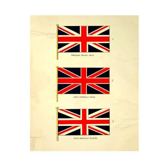 Vintage Union Jack Print Digital Download: 8x10, british flag, vintage-look, printing and framing, decoupage