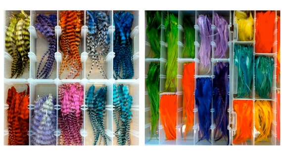 25 Feathers :  Rainbow Mix-  Feather Hair Extensions, Earrings, or all Accessories
