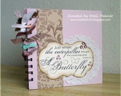 Mini Scrapbook - Butterfly Girly Pink Roses