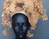 RESERVED Brown Fungus & Flower Headpiece