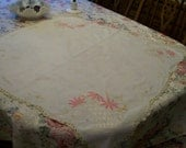 Pink Embroidery Tablecloth Topper with Flower Baskets Pink Asters Square