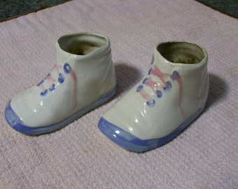 Baby Shoes Planters or Decorative Display Vintage Ceramic