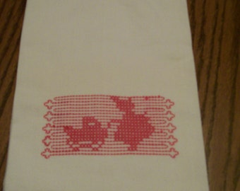 Vintage Decorative Towel Little Girl Baby Buggy  1950s