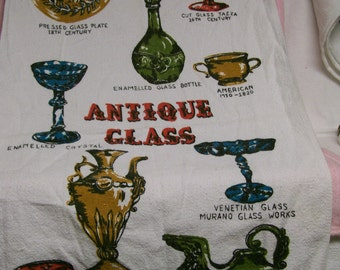 Antique Glassware TOWEL  With Antique Glassware Identification on Towel UNIQUE