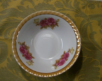Lusterware Bowl Japan 1950s Marigold Luster and Roses Vintage
